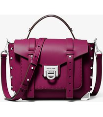 mk borsa a mano manhattan media in pelle - granato (rosso) - michael kors