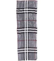 burberry checked gray metallic scarf gray/metallic sz: