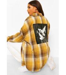 plus geruite boyfriend blouse met amour en duiven rugopdruk, mustard