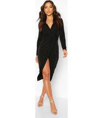 getextuurde strakke gedraaide midi jurk, zwart