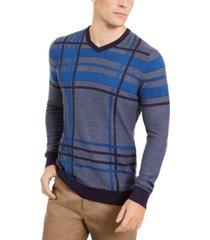 alfani men's plaid crewneck sweater, created for macy's