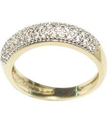 anel kumbayá aparador de aliança venice bombê semijoia banho de ouro 18k cravação dupla carreira de zircônia detalhe em ródio