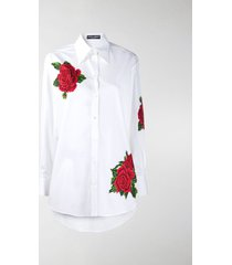 dolce & gabbana embroidered rose buttoned shirt