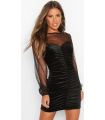 petite dobby mesh & velvet rouched bodycon dress, black