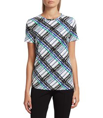 st. john women's check jersey t-shirt - white multicolor - size xs