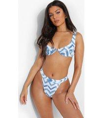 chevron bikini top met buegel, blue
