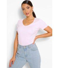 basic cotton v neck t-shirt, blush