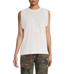 rta women's tyler pleated tank top - white - size xs
