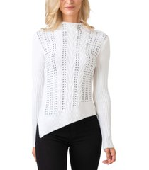 belldini black label embellished cable stitch pullover sweater