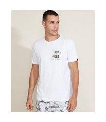 camiseta masculina peixes manga curta gola careca branca