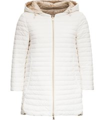 reversible a-line white and beige down jacket
