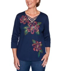 alfred dunner petite road trip floral embroidered embellished top