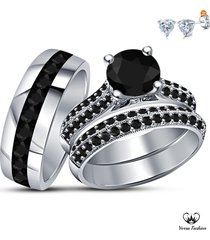 white gold over 925 pure silver bride & groom trio wedding ring set w/ free gift
