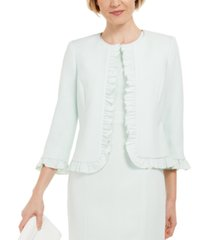 kasper ruffled stretch crepe jacket