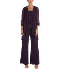 r & m richards petite 3-pc. jacket, embellished top & pants set