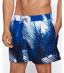 boss men's leaf print swim shorts