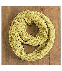 100% alpaca infinity scarf, 'feminine texture in maize' (peru)