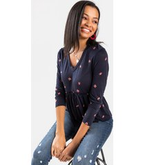 cora floral babydoll blouse - navy