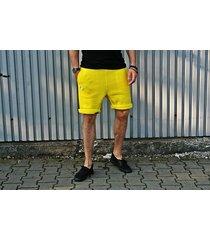 button short pants neon żółte dresowe szorty