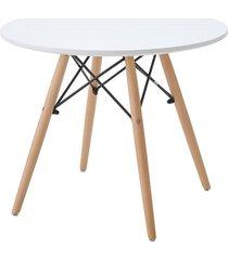mesa eiffel inf. tp mdf branco base madeira rivatti móveis