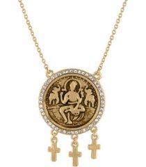 """rachel rachel roy gold-tone pave coin pendant necklace, 18"""" + 3"""" extender"""