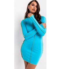 akira made for me long sleeve collared bodycon mini dress