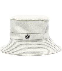 'angele' logo embellished topstitch wool bucket hat