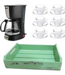 kit 1 cafeteira mallory 220v, 1 jogo de 6 xícaras 90ml com pires e 1 bandeja mdf verde
