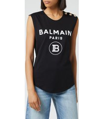 balmain women's logo tank top - black - fr 40/uk 12 - black