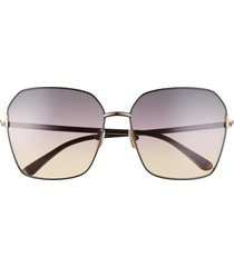 tom ford 62mm claudia square sunglasses in shiny black/smoke gradient at nordstrom