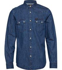 lee rider shirt skjorta casual blå lee jeans
