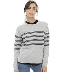 sweater gris etam rayado