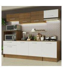 cozinha completa madesa onix 240002 com armario e balcão rustic/branco 5z9b rustic/branco/rustic