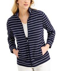 karen scott petite striped mock-neck zip-front jacket, created for macy's