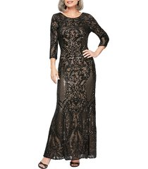 women's alex evenings sequin embroidered tulle evening dress, size 14 - black