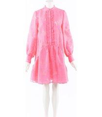 erdem quentin pink fil coupe ruffled dress pink sz: xs