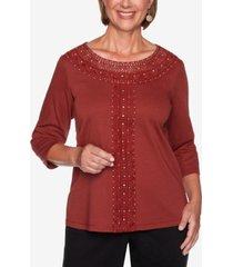 alfred dunner petite catwalk crochet-trim knit top