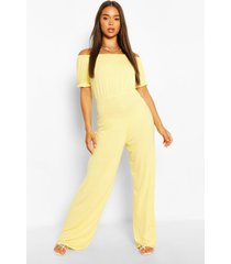 bardot puff sleeve wide leg jumpsuit, lemon