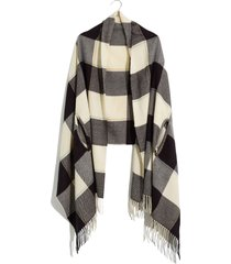 women's madewell buffalo check cape scarf, size one size - brown