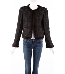chanel black brown wool mohair fur trim jacket black/brown sz: m