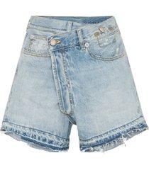r13 tilly cross-over fray hem denim shorts - blue