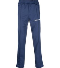 palm angels side-stripe straight-leg track pants - blue
