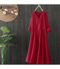 zanzea plus size mujer camisa oversize vestido kaftan vestido midi largo vestido étnico de algodón -rojo