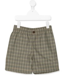 caramel check fitted shorts - grey
