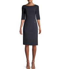 disoma stretch virgin wool-blend faux wrap dress