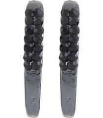 brinco armazem rr bijoux ear hook dois fios cristais pretos grafite