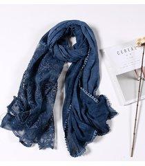 donna 190cm retro sciarpa sicalle in pizzo traforato a colore in tinta unita sciarpa lunga in cotone leggera e morbida