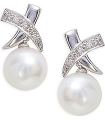 14k white gold, 8.5mm freshwater pearl & diamond earrings
