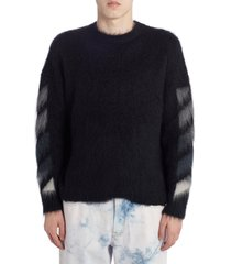 men's off-white brushed mohair blend sweater