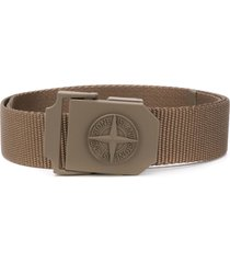 stone island woven buckle belt - green